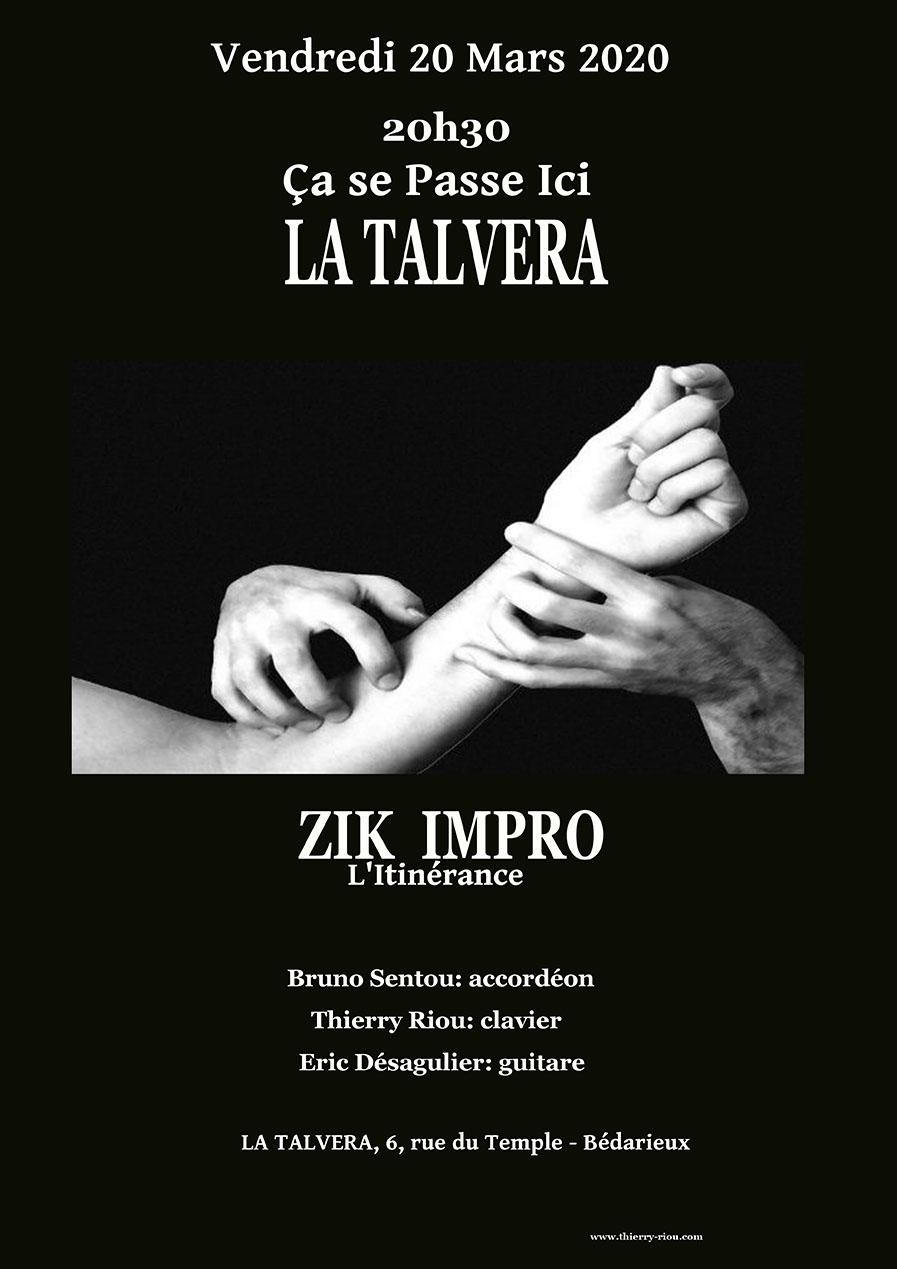 CONCERT: ZIK IMPRO L'itinérance, 20 Mars 2020 20H30