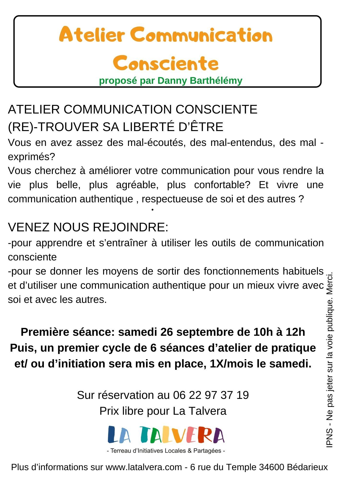 ATELIER DE COMMUNICATION CONSCIENTE